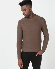 Crosshatch Kermer Raglan Crewneck Knitwear Brown