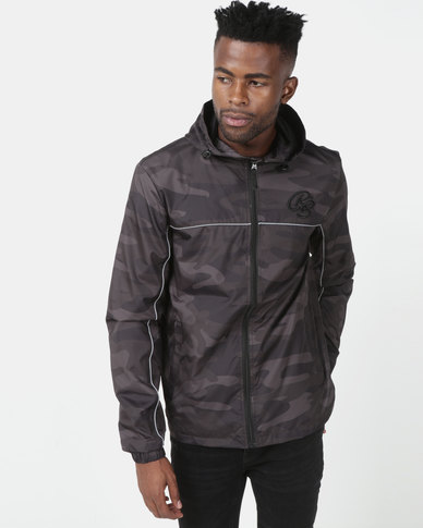 Crosshatch Tannum Camo Hooded Jacket Grey