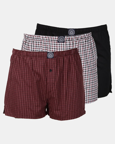 Smith & Jones Checkingham Woven Boxer Burgundy