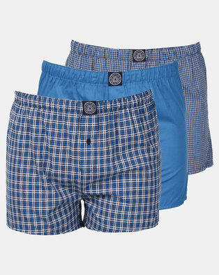Smith & Jones Checkline Woven Boxer Blue