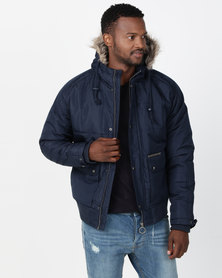 Ringspun Max Quilted Hooded Puffer Jacket Navy