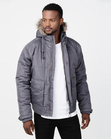Ringspun Max Quilted Hooded Puffer Jacket Charcoal