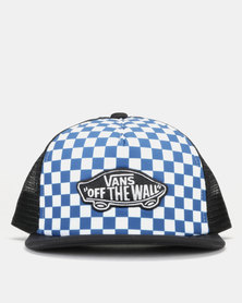 Vans Classic Boys Patch Trucker Plus Cap True Blue/White Check