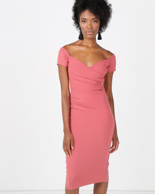 Sissy Boy Bardot With Cap SLeeves Midi Dress Pink