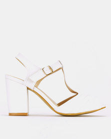 Franco Ceccato Block Heeled Sandals White