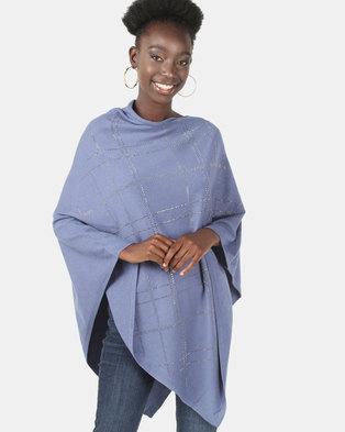 UB Creative Knit Diamante Poncho Blue