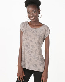 UB Creative Cotton Lycra Print Blouse Taupe