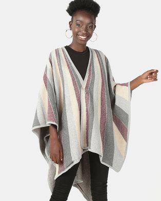 UB Creative Knit Shawl Poncho Light Grey