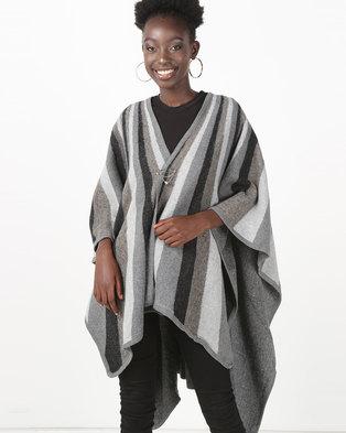 UB Creative Knit Shawl Poncho Dark Grey