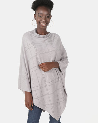 UB Creative Knit Diamante Poncho  Grey