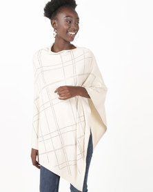 UB Creative Knit Diamante Poncho Beige