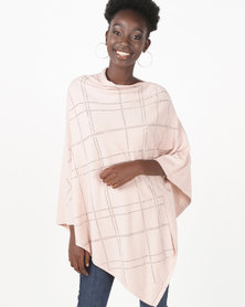 UB Creative Knit Diamante Poncho Pink