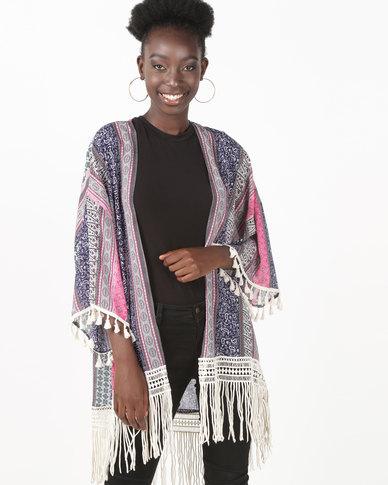 UB Creative Print Georgette Tassel Kimono Jacket Pink/Purple