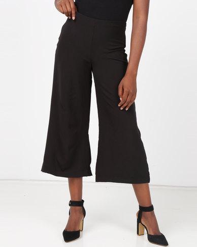 Slick Leni Wide Leg 3/4 Pants Black