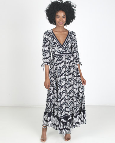 Revenge Maxi Printed Dress Navy