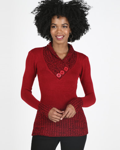 Revenge Ribbed Detailed Knitwear Red