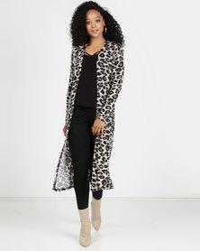 Revenge Leopard Print Cardigan Khaki