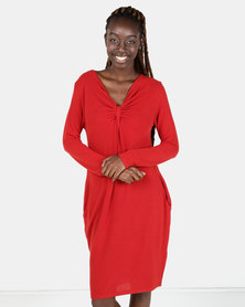 G Couture V-neck Knit Dress Red