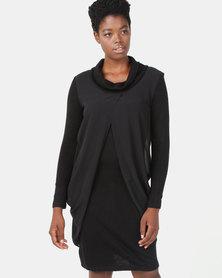 G Couture Chiffon Overlay Dress Black