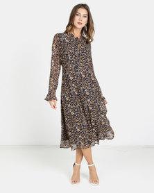 G Couture Longer Length Chiffon Dress Navy