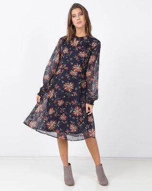G Couture Shorter Chiffon Dress Navy