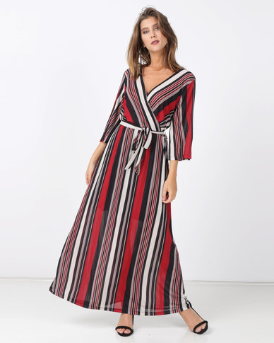 991637dc02ff G Couture Maxi Stripe Dress Red White Black