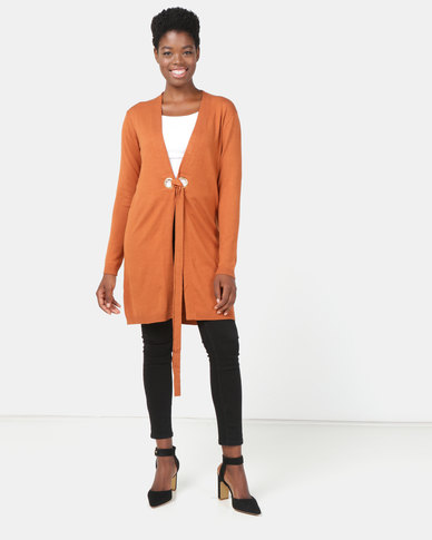 G Couture Long Eyelet Cardigan Rust