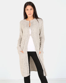 G Couture Boucle Cardigan Stone/Grey