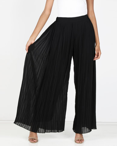 G Couture Pleated Palazzo Black
