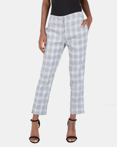 G Couture Check Pants Grey