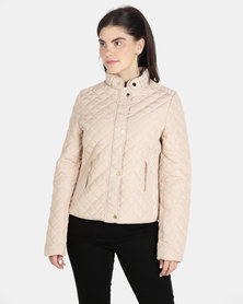 G Couture Structured Quilted Jacket Taupe