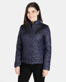 G Couture Metallic Diamond Puffer Navy