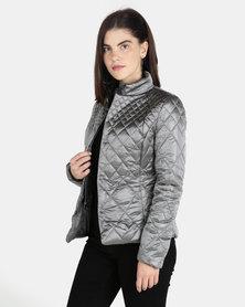 G Couture Metallic Diamond Puffer Pewter