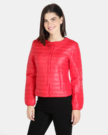 G Couture Collarless Puffer with Buttons Red