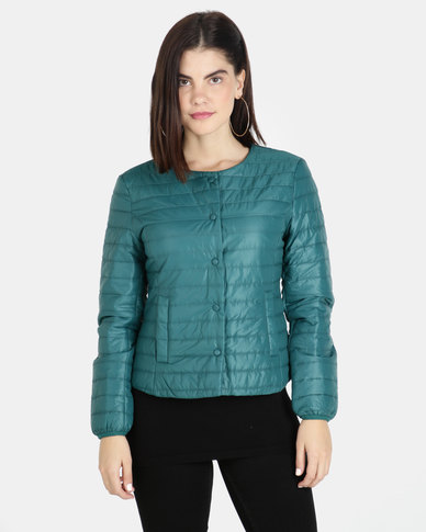 G Couture Collarless Puffer with Buttons Teal
