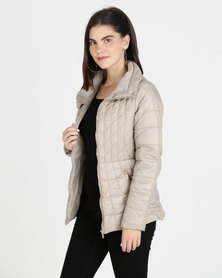 G Couture Zip Collar Puffer Cream