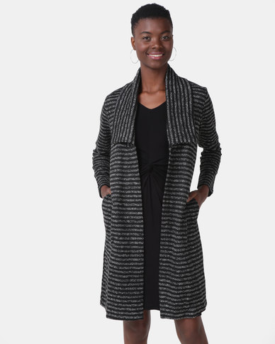 G Couture Stripe Dropped Collar Jacket Black