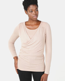 G Couture Mock Wrap Top with Underlayer Stone