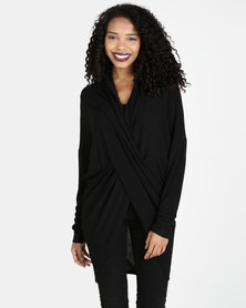 G Couture Cross Front Long Top Black