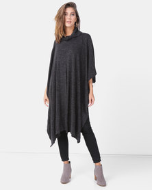 G Couture Poloneck Splitfront Poncho Charcoal