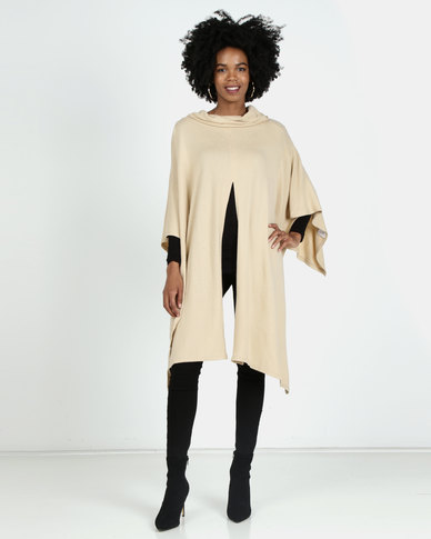 G Couture Poloneck Splitfront Poncho Stone