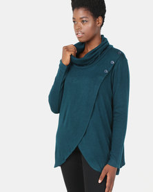 G Couture 3 Button Cross Over Poloneck Teal
