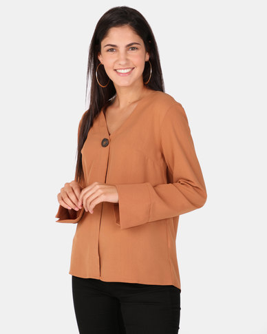 G Couture 1 Button Blouse Rust
