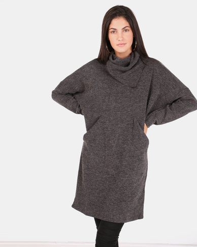 G Couture Split Collar 2 Pocket Dress Charcoal