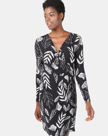 G Couture Printed Wrap Dress Black