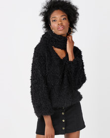 Lila Rose Shaggy Jumper and Snood  Black