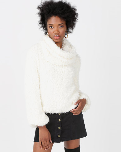 Lila Rose Shaggy Jumper And Snood Milk
