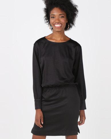 Lila Rose Round Neck Dress Black