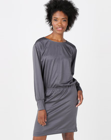 Lila Rose Round Neck Dress Charcoal
