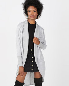 Lila Rose Long Cardi Robe Grey